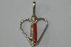 Coral Needlepoint Heart Pendant - P6