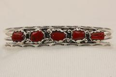 5 Stone Coral Bracelet - BR3660