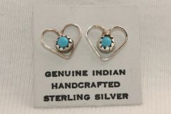 Heart Earrings with Turquoise Stone - ER632 - SOLD