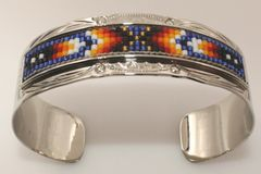 Navajo Nickel Silver Beaded Bracelet - BR1656