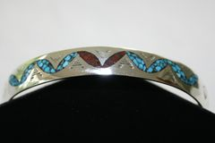 Turquoise & Coral Chip Inlay Bracelet - BR3117