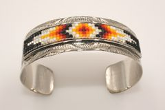 Navajo Nickel Silver Beaded Bracelet - BR1655