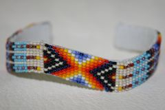 Navajo Beaded Leather Bracelet - BR1417 - SOLD