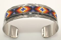 Navajo Nickel Silver Beaded Bracelet - BR1654