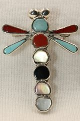Dragonfly Multi Stone Inlay Pendant - P123