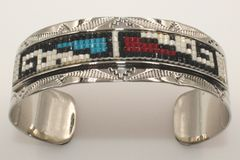 Navajo Nickel Silver Beaded Bracelet - BR1658