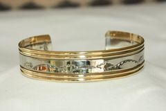 Silver and Brass Stamped Bracelet - BR812