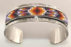 Navajo Nickel Silver Beaded Bracelet - BR1657