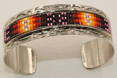 Navajo Nickel Silver Beaded Bracelet - BR1567