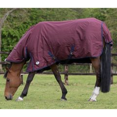 JHL Essential Turnout Rug Mediumweight in Burgundy/Navy 6'3""