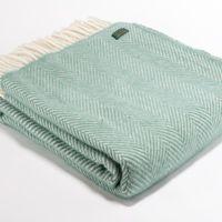 Wool Throws - Seagreen Fishbone