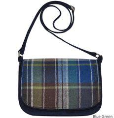 Tweed Saddle Bag - Green-Blue