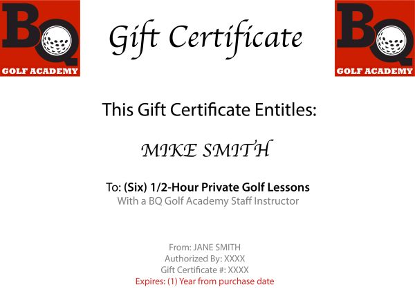 (6-Pack) 1/2-HOUR INDIVIDUAL GOLF LESSONS WITH STAFF