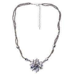 Silver Color Glass Necklace (18 in) in Silvertone TGW 0.001 cts.