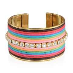 MULTI COLOR COTTON THREAD CUFF IN GOLD-TONE. A 10314