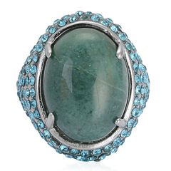 Green Jasper, Blue Austrian Crystal Ring in Stainless Steel (Size 8) TGW 18.00cts.