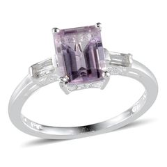 Rose De France Amethyst (Oct 2.10 Ct), White Topaz Ring in Sterling Silver Nickel Free (Size 5) A 10275