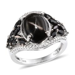 Indian Black Star Diopside (Ovl 7.35 Ct), Thai Black Spinel, Diamond Ring in Platinum Overlay Sterling Silver Nickel Free (Size 6) A 10454