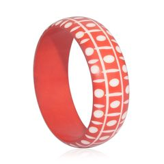 RED RESIN WITH WHITE DOTS PATTERN BANGLE. A 10459