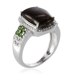 Siberian Seraphinite (Cush 4.75 Ct), Green Austrian Crystal Ring in Stainless Steel (Size 7) A 10268