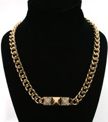 CHAIN CRYSTAL PYRAMID NECKLACE. 18 INCHES, GOLD PLATING / MATERIAL.