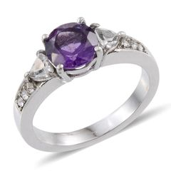 Amethyst (Rnd 1.85 Ct), White Topaz, White Austrian Crystal Ring in Stainless Steel (Size 10)