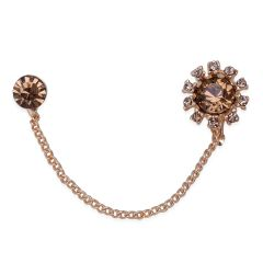 SMOKY AUSTRIAN CRYSTAL SINGLE EARRING IN GOLDTONE.