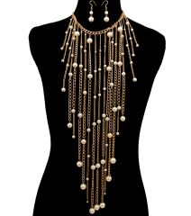 Gold metal chain drop necklace set with pearls. Lobster clasp closure. 12 inches x 8 inches, Gold Plating / Material.