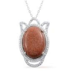 KARIS COLLECTION - RED GOLD STONE (Ovl) PENDANT IN PLATINUM BOND BRASS WITH STAINLESS STEEL CHAIN (20 In).