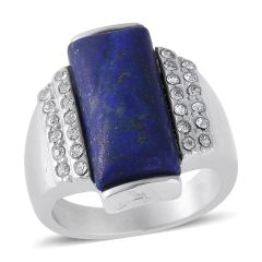 Lapis Lazuli, Austrian Crystal Ring in Stainless Steel (Size 8) A 10553