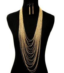 LONG MULTI LAYERED CHAIN NECKLACE. 26 INCHES LONG, GOLD PLATING / MATERIAL.