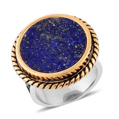 Lapis Lazuli ION Plated YG and Stainless Steel Engraved Bold Ring 2016004