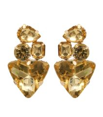 Topaz Acrylic Atone Earrings With Post Back Closure. Gold Plating / Material.