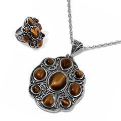 South African Tigers Eye Ring (Size 5) and Pendant With Chain (20 in) in Stainless Steel A 10534