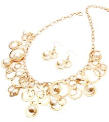 Gold metal statement necklace set with round pendants and pearls. Lobster clasp closure. 17 Inches, Gold Plating / Material.