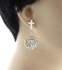 BOLD METAL CROSS LION EARRINGS. RHODIUM PLATING/MATERIAL