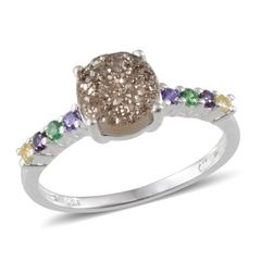 Platinum Drusy Quartz (Rnd 1.50 Ct), Simulated Multi Color Diamond Ring in Sterling Silver Nickel Free (Size 6)
