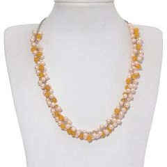 GLASS PEARL, YELLOW QUARTZITE NECKLACE IN SILVERTONE WITH STAINLESS STEEL CHAIN (20 In) TGW 151.200 Cts.