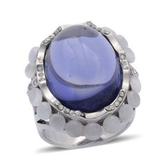 Purple Glass, White Austrian Crystal, Lab Created Cats Eye Ring in Stainless Steel (Size 8)