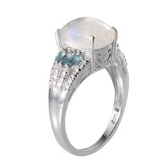 Rainbow Moonstone (Cush 5.00 Ct), Electric Blue Topaz, Diamond Ring in Platinum Overlay Sterling Silver Nickel Free - A 10464