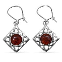 Baltic Amber (Rnd) Earrings in Sterling Silver Nickel Free TGW 1.70 Cts.