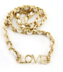 WEAVE BRIGHT COLORED CHAIN LEATHER LOVE BRACELET. GOLD PLATING / MATERIAL.