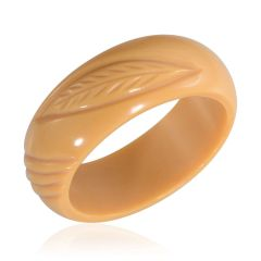 YELLOW RESIN CARVED BANGLE.