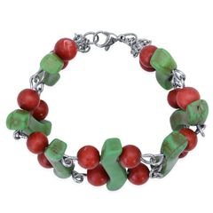 Green and Red Howlite Bracelet in Stainless Steel 2016009