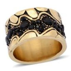 BLACK AUSTRIAN CRYSTAL RING IN ION PLATED YG STAINLESS STEEL (SIZE 7)