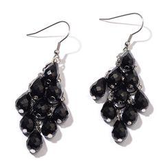BLACK GLASS EARRINGS IN SILVER TONE.