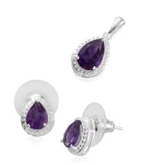 Amethyst (Pear) Earrings and Pendant with Chain in Sterling Silver Nickel Free TGW 3.90 Cts.