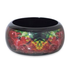 MULTI COLOR ENAMELED WOODEN BANGLE. A 10472