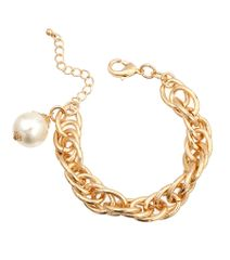 Awesome gold linked chain bracelet with dangling pearl. Lobster clasp closure. 8 Inches, Gold Plating / Material.