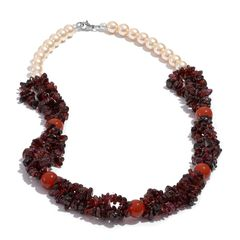 Mozambique Garnet, Glass Pearl, Red Agate Necklace (20 in) in Stainless Steel TGW 295.93 cts.